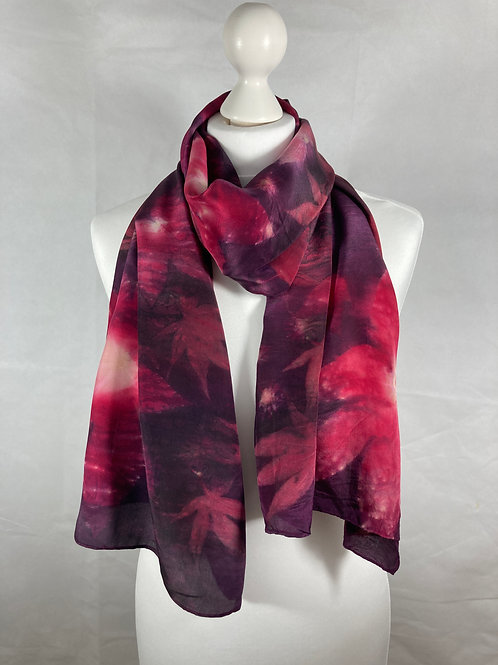 Large Crepe de Chine 8 silk scarf/shawl with cochineal & castor oil leaves SC53