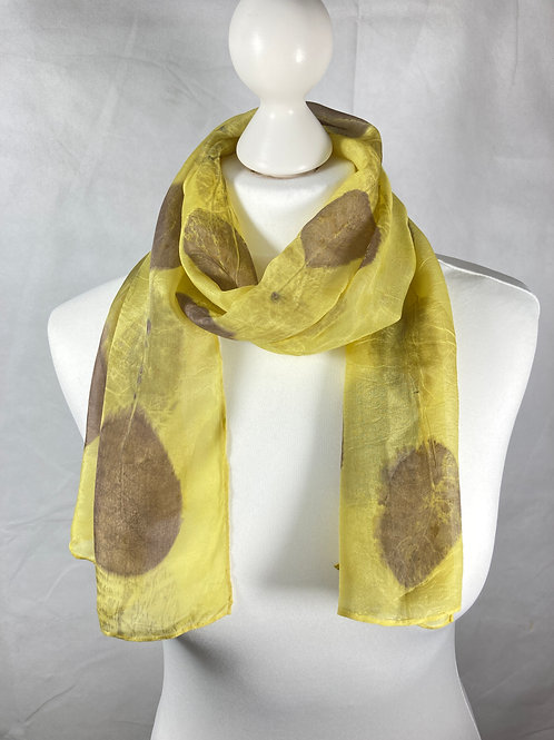 Silk scarf dyed with weld & printed with cotinus leaves  [SC43]