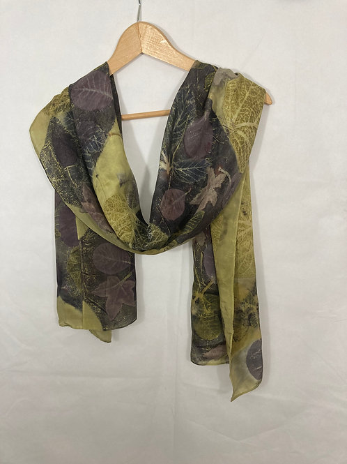 Large Crepe de Chine 8 silk scarf with logwood, weld and autumn leaves SC10