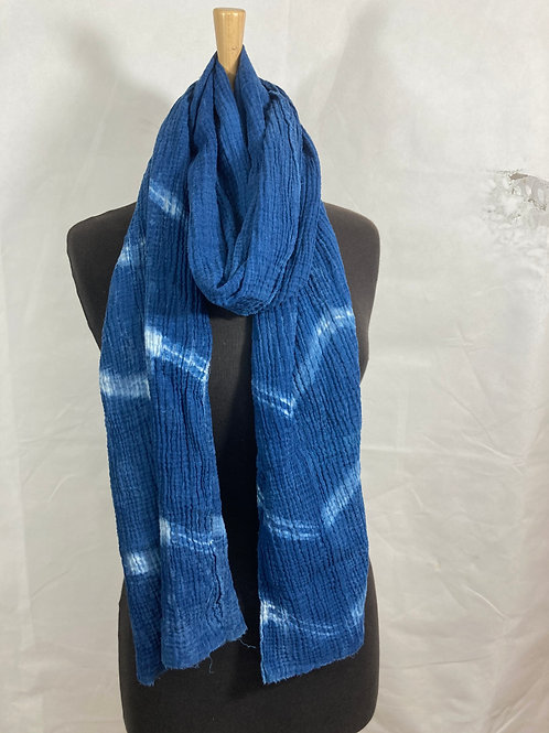 Cotton cheesecloth scarf hand dyed with indigo SC06
