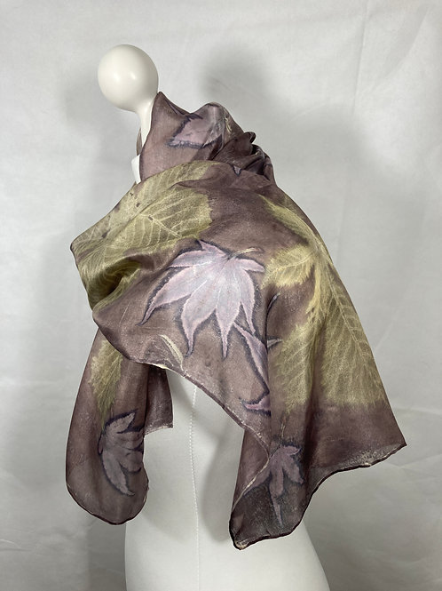 Silk Scarf with Oak Gall Tannin, Horse Chestnut and Acer Leaves [SC81]