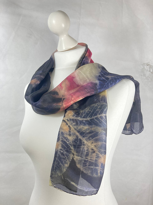 Ponge 5 silk scarf, logwood and cochineal dye, walnut, acer  & daisies [SC64]