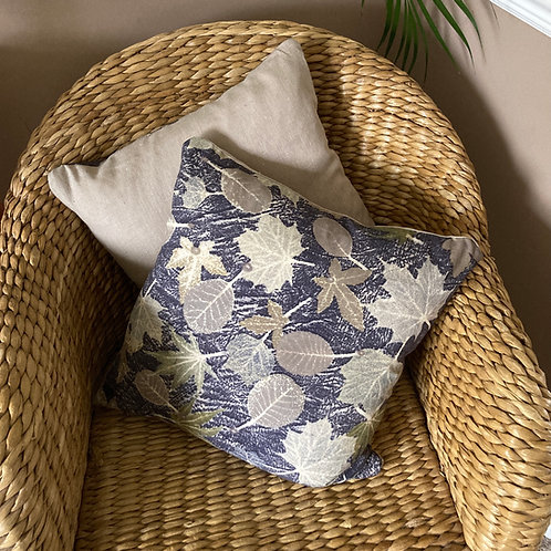 Summer leaves and logwood cushion with duck feather pad