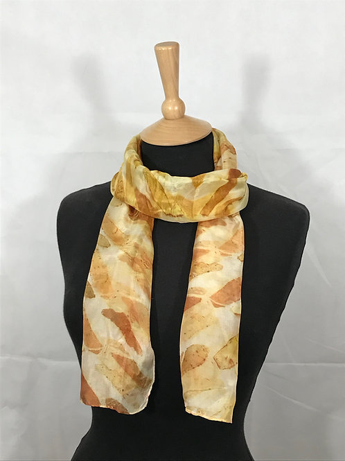 Silk scarf printed with yellow onion skins [SC58]