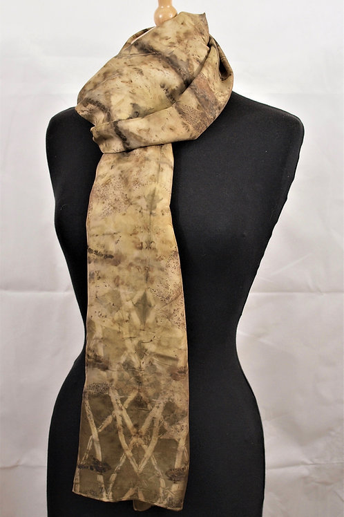 Habotai silk shawl/scarf with sycamore and chestnut catkins