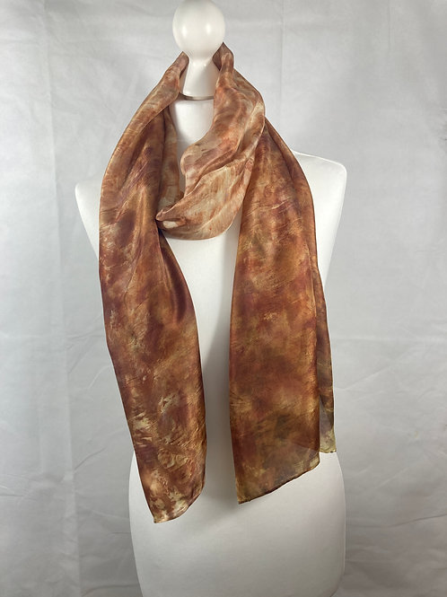 Large Ponge 5 silk scarf printed with red onion skins  [SC63]