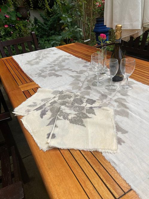 Table runner and napkins printed with silver birch