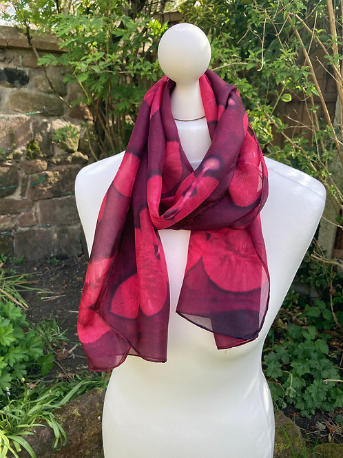 Silk Scarf with Cochineal and Rose Leaves [SC75]