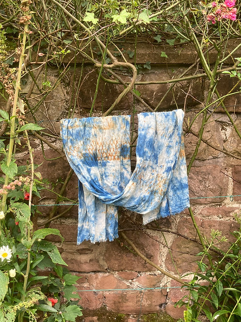 Hand woven cotton shawl with rust and indigo [1] SC15