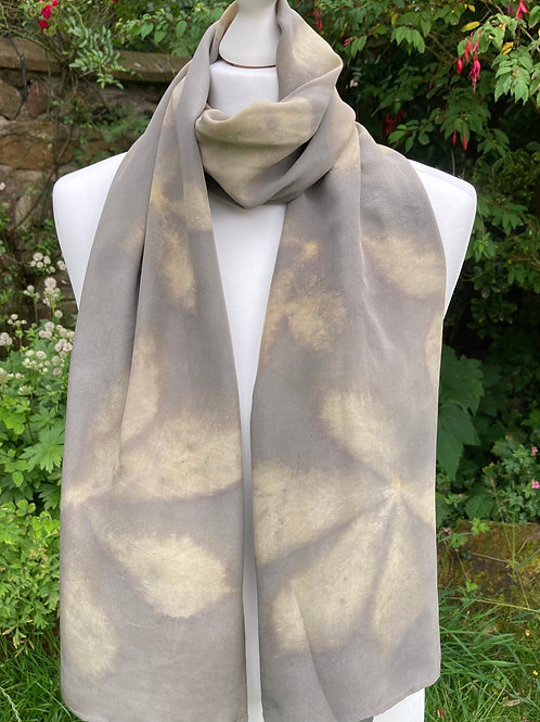 Large Crepe de Chine 10 Silk Shawl with Horse Chestnut Leaves [SC93]