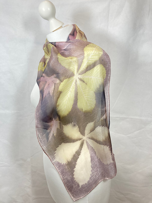 Silk Scarf with Oak Gall Tannin, Horse Chestnut and Acer Leaves [SC80]