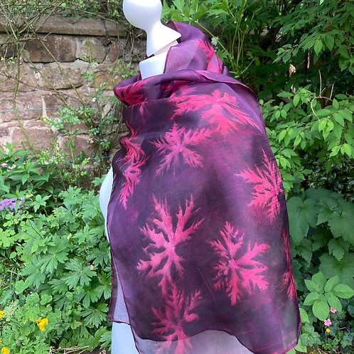 Silk Scarf with Cochineal and Hardy Geraniums [SC85]