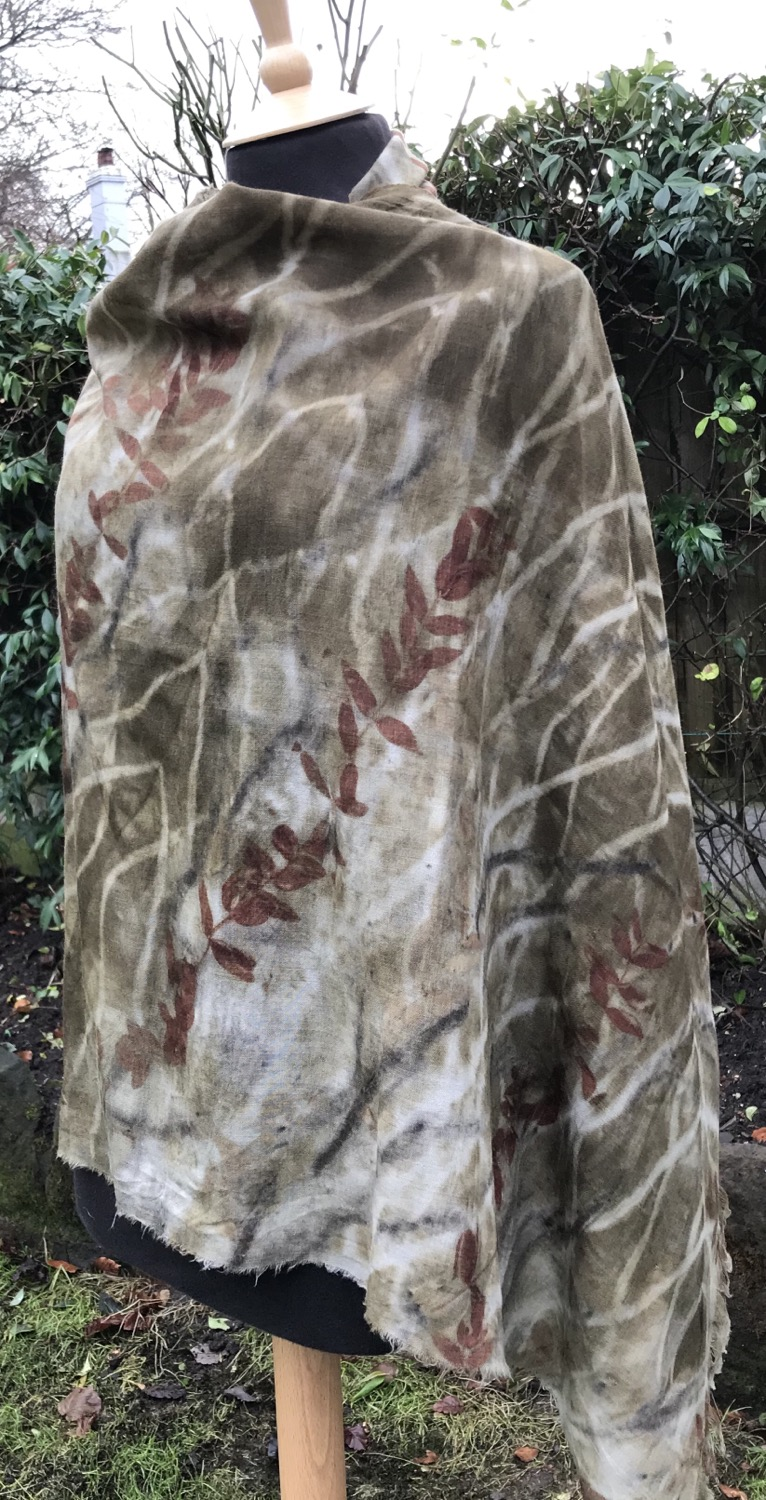 Thumbnail: Large wool etamine shawl printed with eucalyptus and chestnut catkins SC29