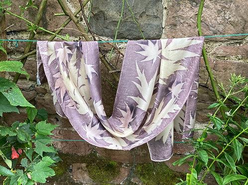 Large Crepe de Chine 8 silk scarf with oak gallnut, tree paeony & acers  SC20