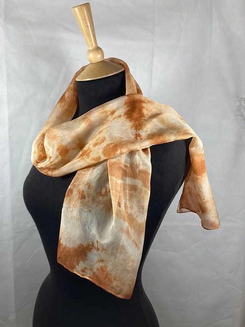Crepe de Chine 5 silk scarf dyed with onion skins [SC57]
