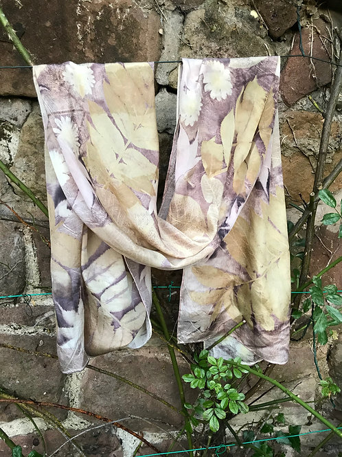 Large Crepe de Chine 8 silk scarf with wingnut, japanese acers and daisies  SC24