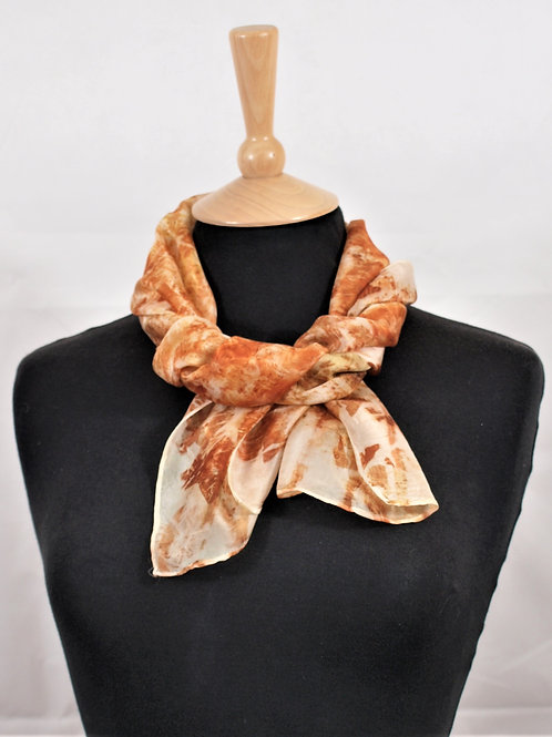 Silk scarf printed with onion skins