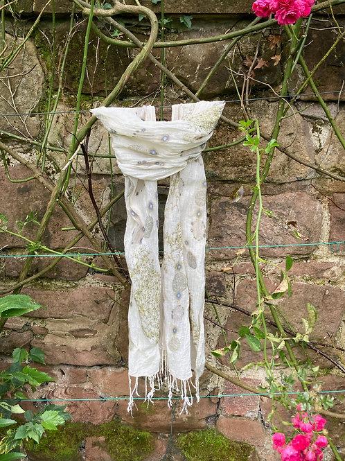Hand woven linen shawl, printed with cotinus [smokebush]  SC21