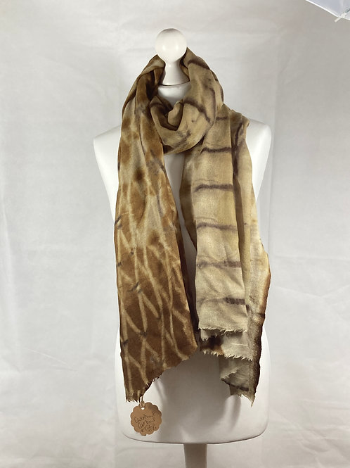 Cashmere and wool shawl, handprinted with chestnut  catkins [SC50]