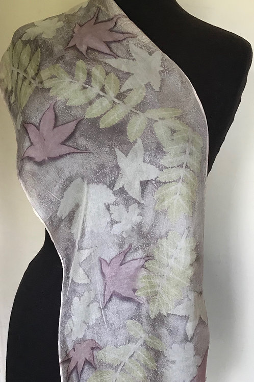 Ponge 5 silk scarf dyed with gallnut, printed with summer leaves SC30