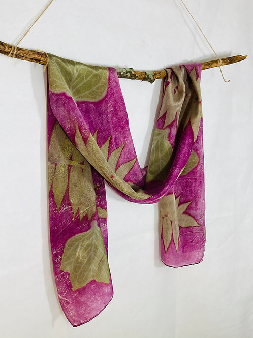 Large Crepe de Chine 8 silk scarf with cochineal, sumac & tulip tree leaves SC02