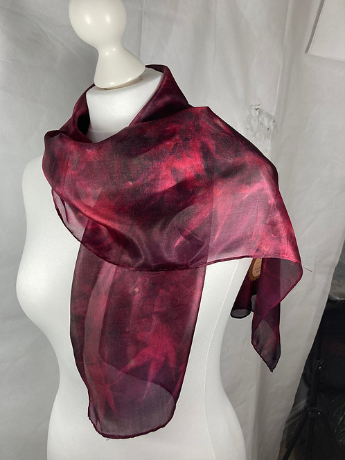 Silk scarf with cochineal and sumac leaves [SC68]