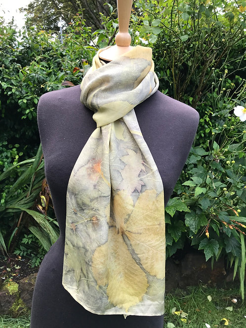 Large Crepe de Chine 8 silk scarf with pomegranate, horse chestnut & acer SC13