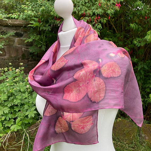 Silk Scarf with Light Cochineal and Rose Leaves [SC87]