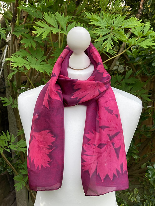 Silk Scarf with Cochineal and Tree Paeony [SC77]