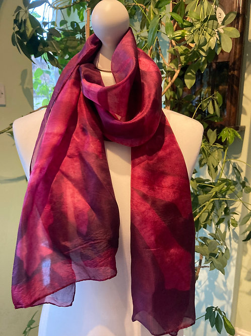 Silk scarf with cochineal and fig leaves [SC51]