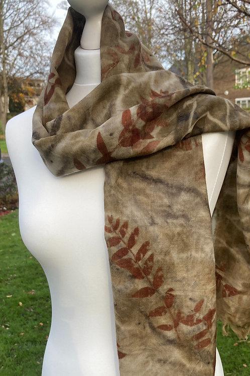 Wool etamine scarf handprinted with E parvifolia & chestnut  catkins [SC49]