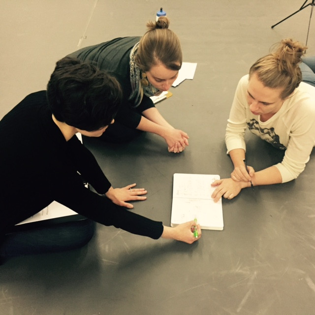 Kayleigh working with composer Eliza Brown and staging director Emmi Hilger