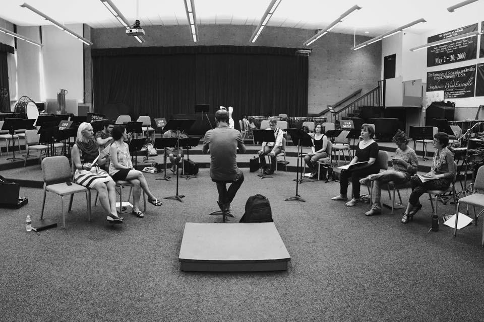 Michael Lewanski rehearsing in Omaha. Photo by Aleksandr Karjaka