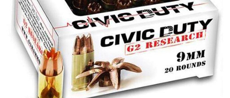 G2 Researh Civic Duty JHP 9mm 100gr (20)