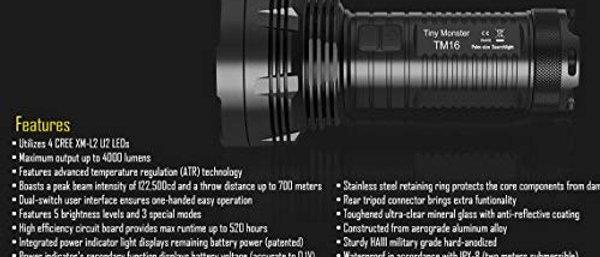 Nitecore TM16GT + 4x3400mAh Bat + D4 Digi Charger