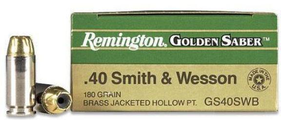 Remington 40 S&W 180gr BJHP Golden Sabre (25)