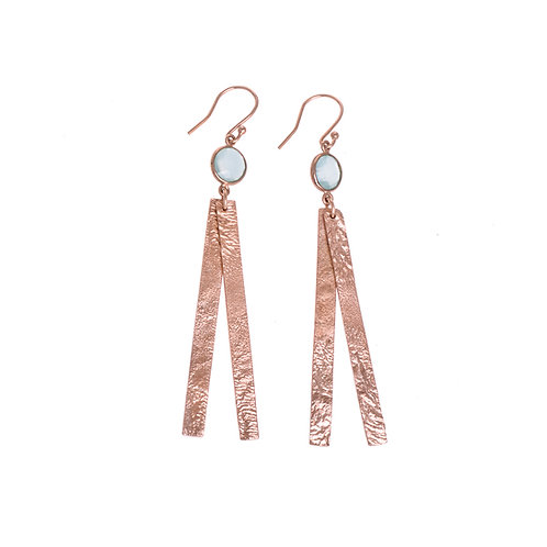 Long Moonscape Double Strand Rose Gold Plated Earrings with Blue Chalcedony