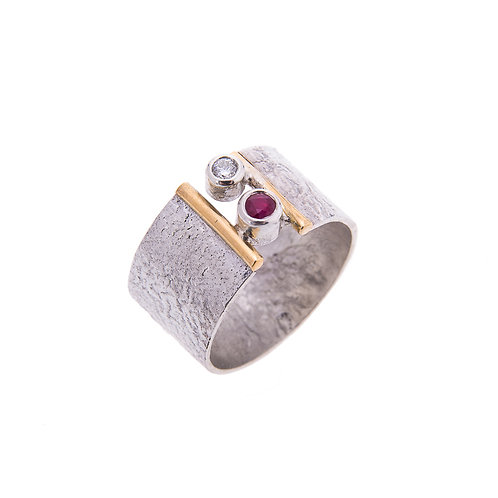 Wisdom Ring with 18ct Detail Ruby and CZ.