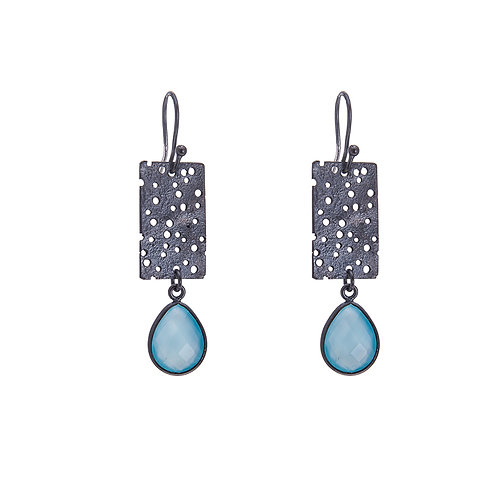 Short Erosion Earrings with Blue Chalcedony