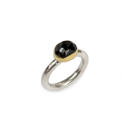 Ring Silver Freeform Black Onyx in 18ct Gold Setting