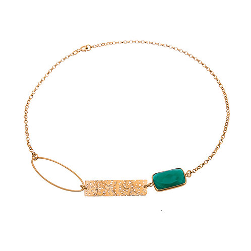 Erosion Single Oval Necklace with Green Onyx Gold Plated