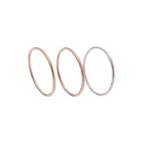 Trio Moondust Rings in 9ct Rose, White and Yellow