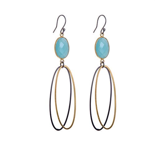 Double Oval Erosion Earrings with Oxidised and Gold Plate