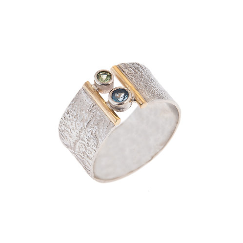 Wisdom Ring with Peridot and Topaz Silver and 18ct Gold