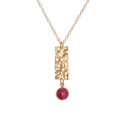 Short Erosion Pendant with Ruby