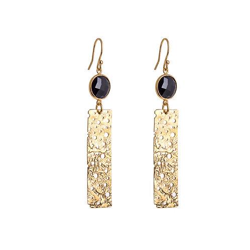 Anne Morgan Jewellery- Long Erosion Gold Plated Earrings