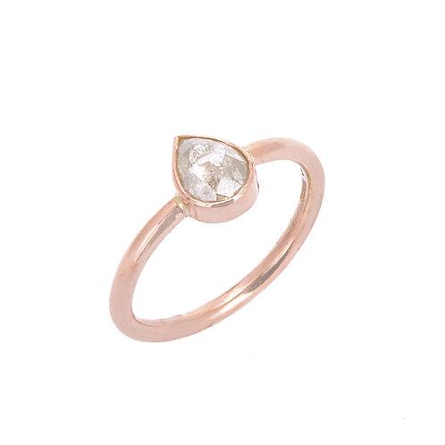 Green Diamond 18ct Rose Gold Ring
