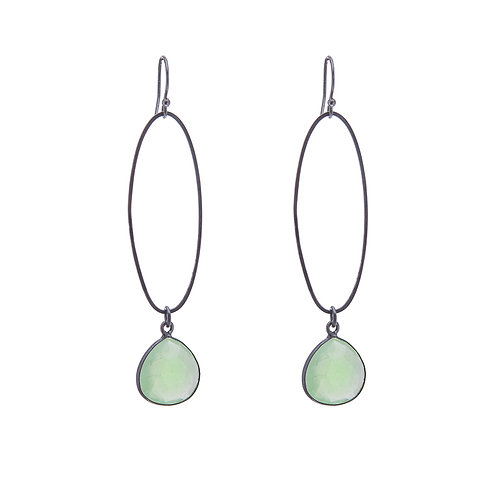 Oval Erosion Green Chalcedony Earrings