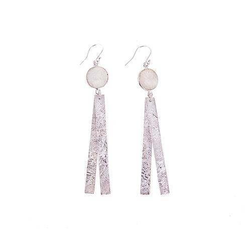 Long Moonscape Double Strand Silver Earrings