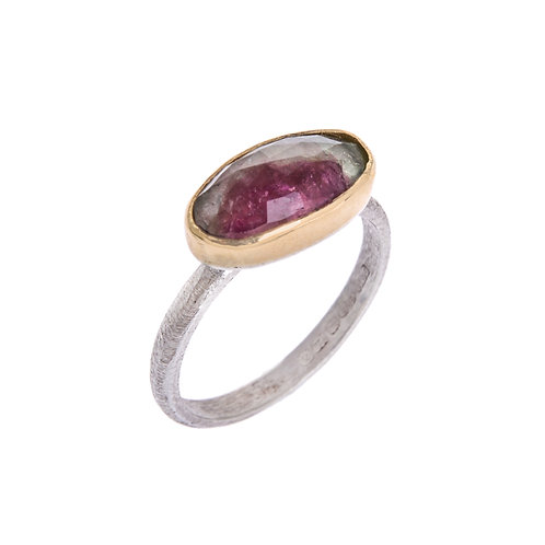 Silver Gold Ring with Freeform Tourmaline Set in 18ct Yellow Gold